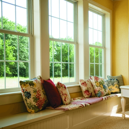 impervia double-hung window traditional grilles seatbox